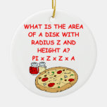 PIZZA and math Double-Sided Ceramic Round Christmas Ornament