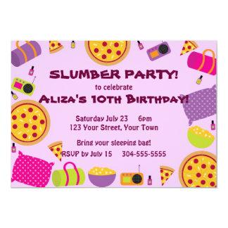 "Pizza and Pajama Party 5"" X 7"" Invitation Card"