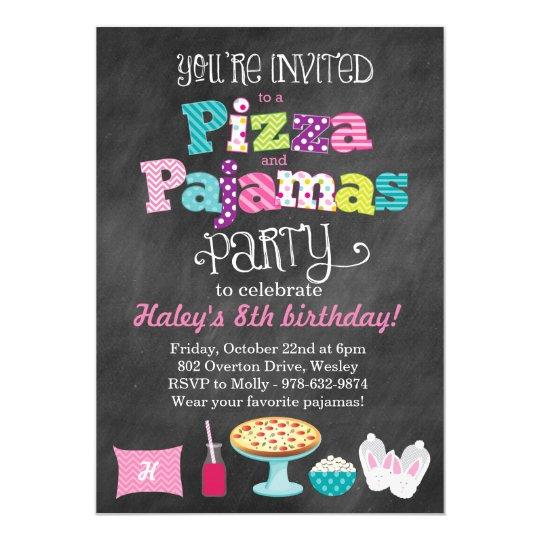 pizza and pajamas party chalkboard invitation