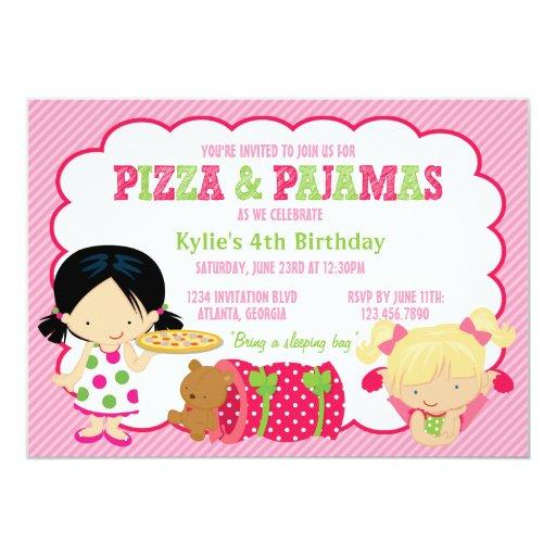 """Pizza and Pajamas Sleepover Party 5"""" X 7"""" Invitation Card"""