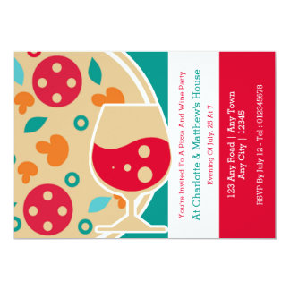 Pizza And Wine Party Custom Card