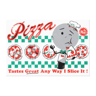 """Pizza Any Way I Slice It Retro Canvas — 1.5"""" thick Stretched Canvas Print"""