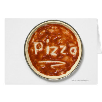 Pizza base with tomato sauce and the word card
