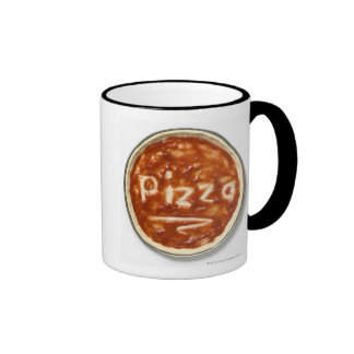 Pizza base with tomato sauce and the word ringer coffee mug