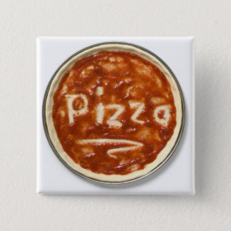 Pizza base with tomato sauce and the word pinback button