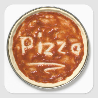 Pizza base with tomato sauce and the word square sticker