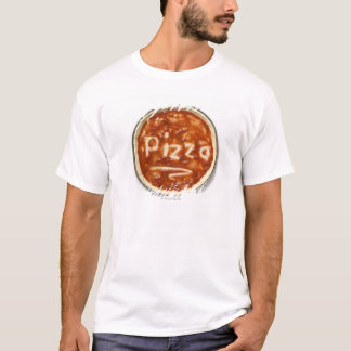 Pizza base with tomato sauce and the word T-Shirt
