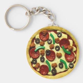 Pizza Birthday Party Basic Round Button Keychain