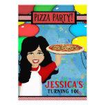 Pizza Birthday Party Custom Invitation