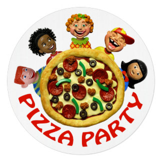 Pizza Birthday Party Announcement