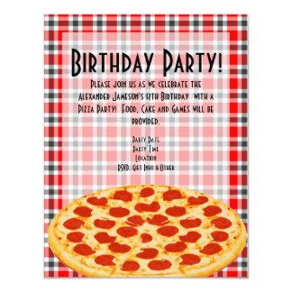 """Pizza Birthday Party Invitation, Tablecloth Design 4.25"""" X 5.5"""" Invitation Card"""