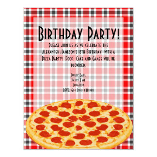 Pizza Birthday Party Invitation, Tablecloth Design Card
