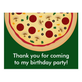 Pizza Birthday Party Thank You Postcard