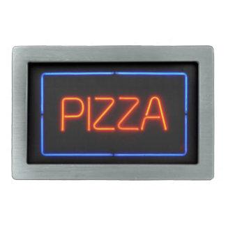 PIZZA Blue Red Neon Sign Rectangular Belt Buckle