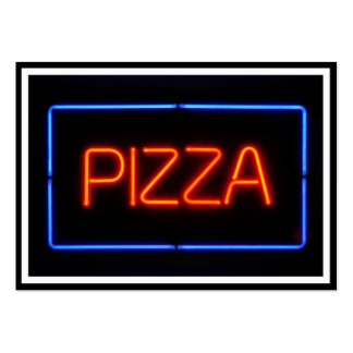 PIZZA Blue & Red Neon Sign Large Business Cards (Pack Of 100)