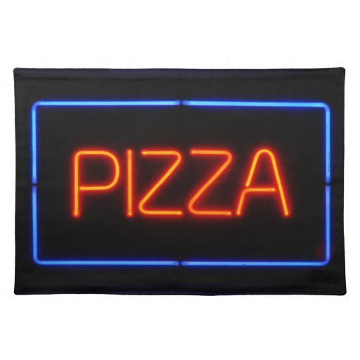 PIZZA Blue & Red Neon Sign Cloth Place Mat