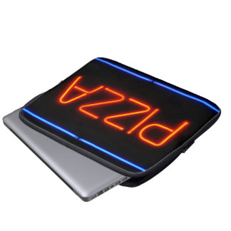 PIZZA Blue & Red Neon Sign Computer Sleeve