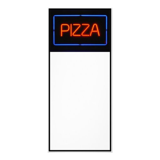 PIZZA Blue & Red Neon Sign Custom Rack Card