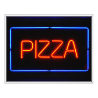 PIZZA Blue & Red Neon Sign Flyer