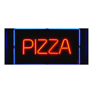 PIZZA Blue & Red Neon Sign Custom Invites