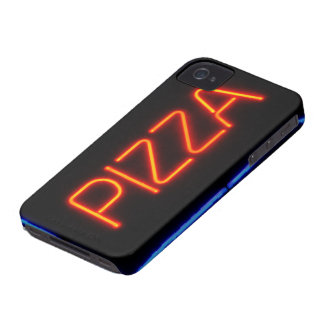 PIZZA Blue & Red Neon Sign iPhone 4 Case