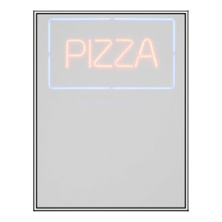 PIZZA Blue & Red Neon Sign Customized Letterhead