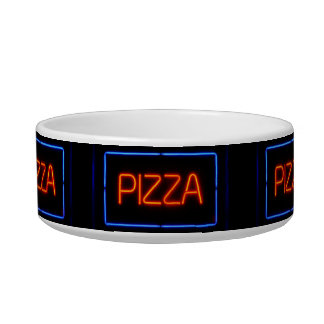 PIZZA Blue & Red Neon Sign Pet Bowls