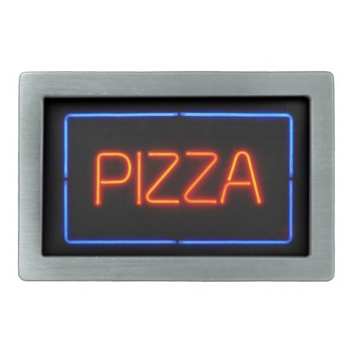 PIZZA Blue & Red Neon Sign Rectangular Belt Buckle