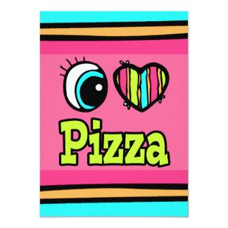 """Pizza brillante del amor del corazón I del ojo Invitación 4.5"""" X 6.25"""""""