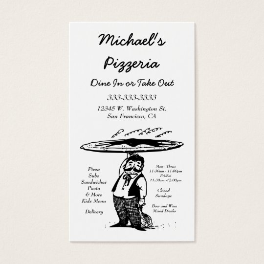 Pizza Cafe Restaurant Chef Black And White Business Card