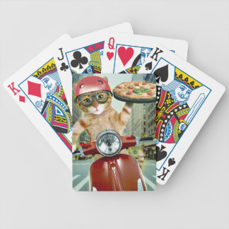 pizza cat - cat - pizza delivery bicycle playing cards