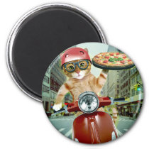 pizza cat - cat - pizza delivery magnet