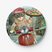 pizza cat - cat - pizza delivery paper plate
