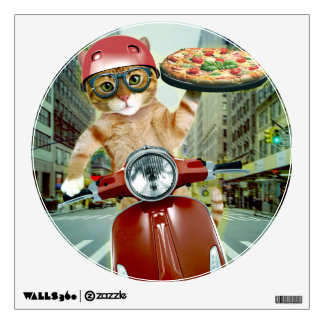 pizza cat - cat - pizza delivery wall sticker