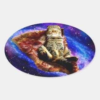 pizza cat - crazy cat - cats in space oval sticker