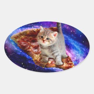 pizza cat - cute cats - kitty - kittens oval sticker