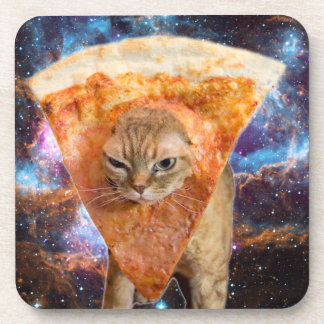 Pizza Cat in Space Wearing Pizza Slice Beverage Coaster