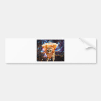 Pizza Cat in Space Wearing Pizza Slice Bumper Sticker