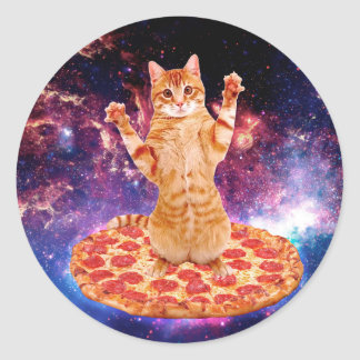 pizza cat - orange cat - space cat classic round sticker