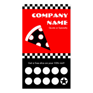 pizza checkers punchcard Double-Sided standard business cards (Pack of 100)