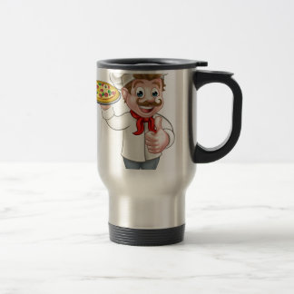 Pizza Chef Cartoon Character Travel Mug