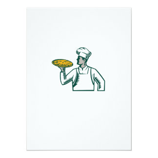 Pizza Chef Holding Pizza Woodcut Card