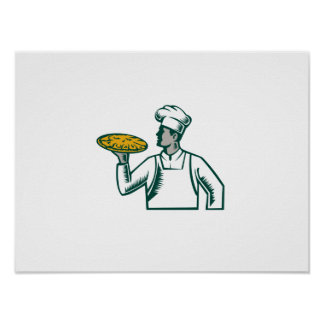 Pizza Chef Holding Pizza Woodcut Poster