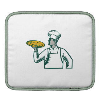 Pizza Chef Holding Pizza Woodcut Sleeve For iPads