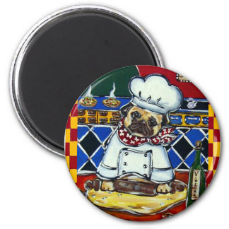 Pizza Chef Pug Refrigerator Magnets