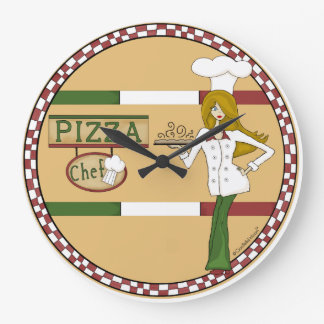 Pizza Chef Round Wall Clock
