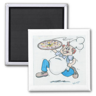 Pizza chef running with pizza fridge magnets