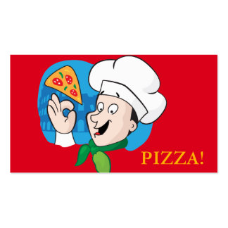 Pizza Chef with slice of pizza funny cartoon Business Card