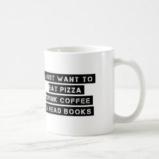 Pizza, Coffee, And Books Coffee Mug