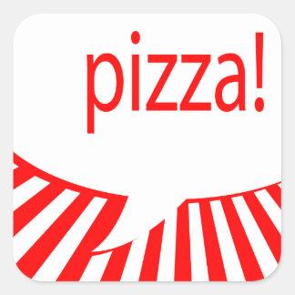 pizza! : comic talking bubble square sticker